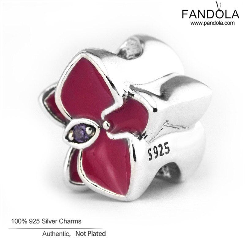 100% 925 Sterling Silber Radiant Orchid Flower Charm Perlen für die - Edlen Schmuck - Foto 2