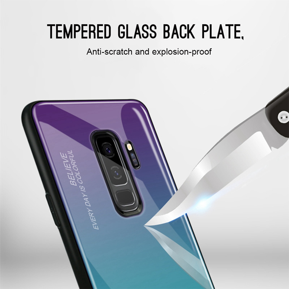 Gradient Tempered Glass Phone Case For Samsung Galaxy S10 S9 S8 Plus S10e Fashion Cover For Note 9 8 A5 Coque Cases Accessories in Fitted Cases from Cellphones Telecommunications