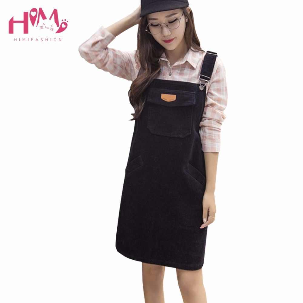 7699063acbe Winter Korean Women Sleeveless Dress Fashion Loose Strap Corduroy Pink Dress  Autumn Vintage Cute Casual Female