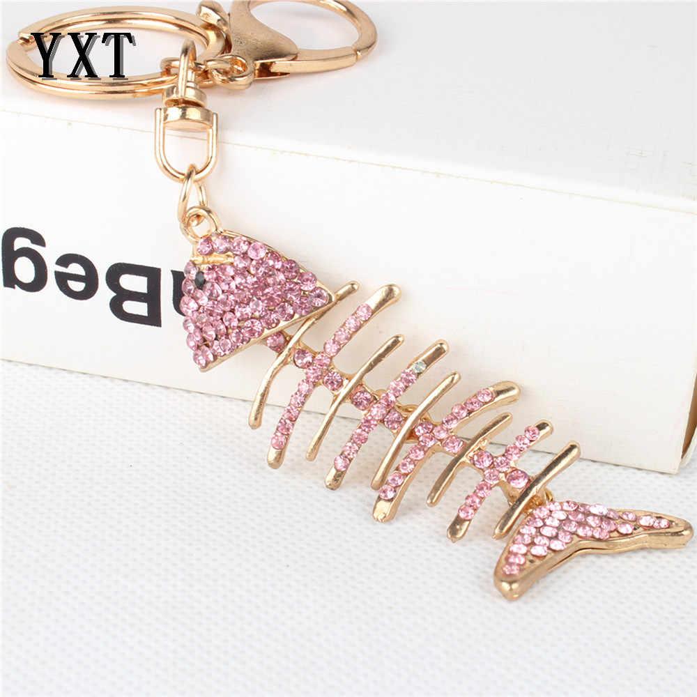 Прекрасный розовый рыбы Fishbone подвижные кулон милый Украшенные стразами автомобиля кошелек сумочка брелок для вечеринки, дня рождения подарок