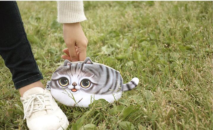 5 pieces Coin purse New 3D girl wallet bag face zipper mini cat animal coin purse childrens purse plush coins pouch kawaii bag