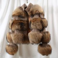 Women's Coat Real Fur Jacket Woman Natural Fur Coat For Women Winter Genuine Raccoon Fur Overcoat