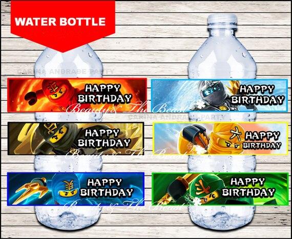 Lego Ninjago Botella Agua Etiquetas Trolls Fiesta Envolturas Baby
