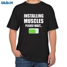 Original Tshirts Big Size Installing Muscles Please Men T Shirt Funny Casual Fit Casual T-Shirt Mens Fashion Tops Tees Top