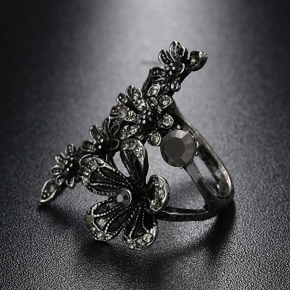 1 Stück 2017 Neue Mode Punk Frauen Partei Schmuck Vintage Black Crystal Antikes Silber Überzogene Große Blume Schönes Geschenk Für Frauen Aromatischer Geschmack