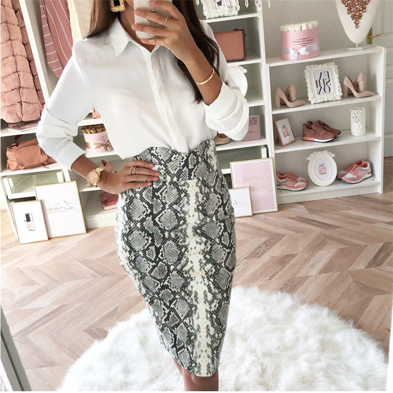 2019 Fashion Sexy Snake Print Midi Pencil Skirt Women High Elastic Waist Office Lady Bodycon Knee Length Skirts Saias Faldas Muj