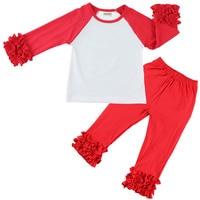 Children's boutique clothing long hem t-shirt icing ruffle shirt Ruffle Sleeved Raglan pants set girls clothes free shipping
