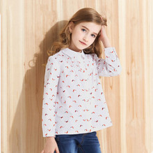 Fashion Baby Girls Blouse Kids Cotton Shirt Girls Princess Leaves Dot Print Children Long Sleeve School Blouses Girls Clothing