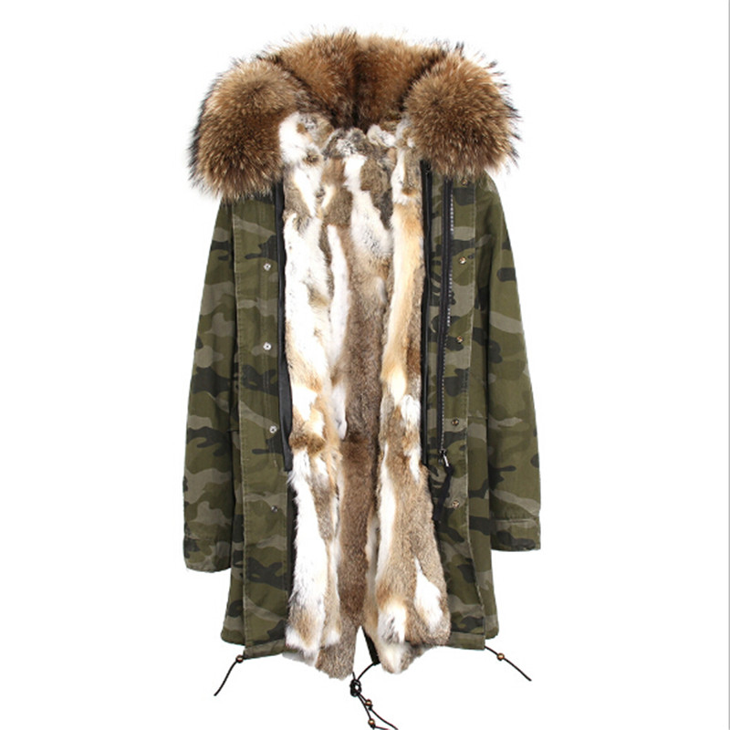2018 new high quality rabbit fur coat dress super luxury liner raccoon fur collar fur coat fashion cotton coat in Winter Park