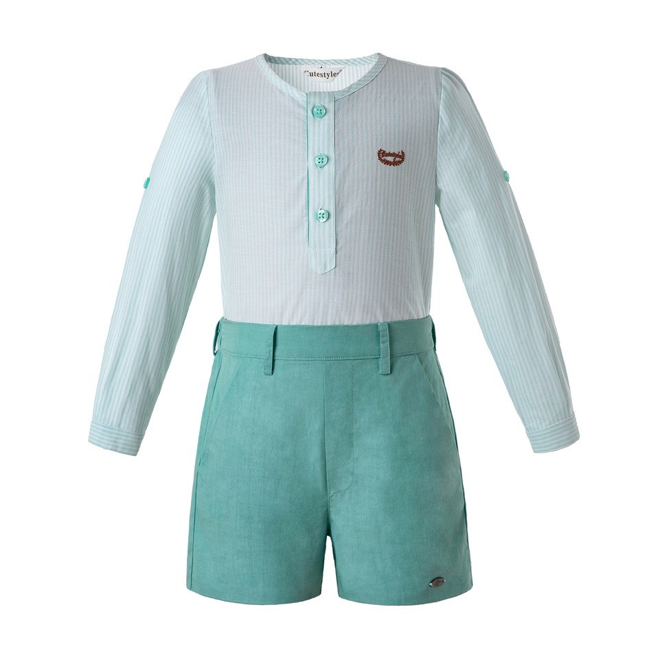 Pettigirl Mint Green Boys Long Sleeves Clothing Sets White Single Row Button Design Top With Shorts Child Clothes B DMCS201 C140-in Clothing Sets from Mother & Kids