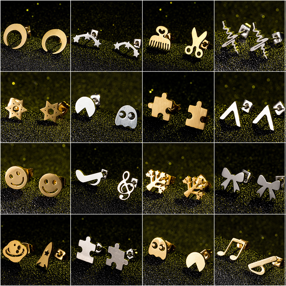 Stud-Earring Puzzle Face Star Moon Stainless-Steel Minimalist Silver Women Golden Fashion
