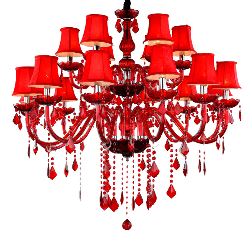 Ceiling Lights & Fans Red Candle Crystal Chandelier With Lamp Shade Red Glass Chandelier With Lampshade 6 Head 10 Head 18 Wedding Lighting Elegant Shape Chandeliers