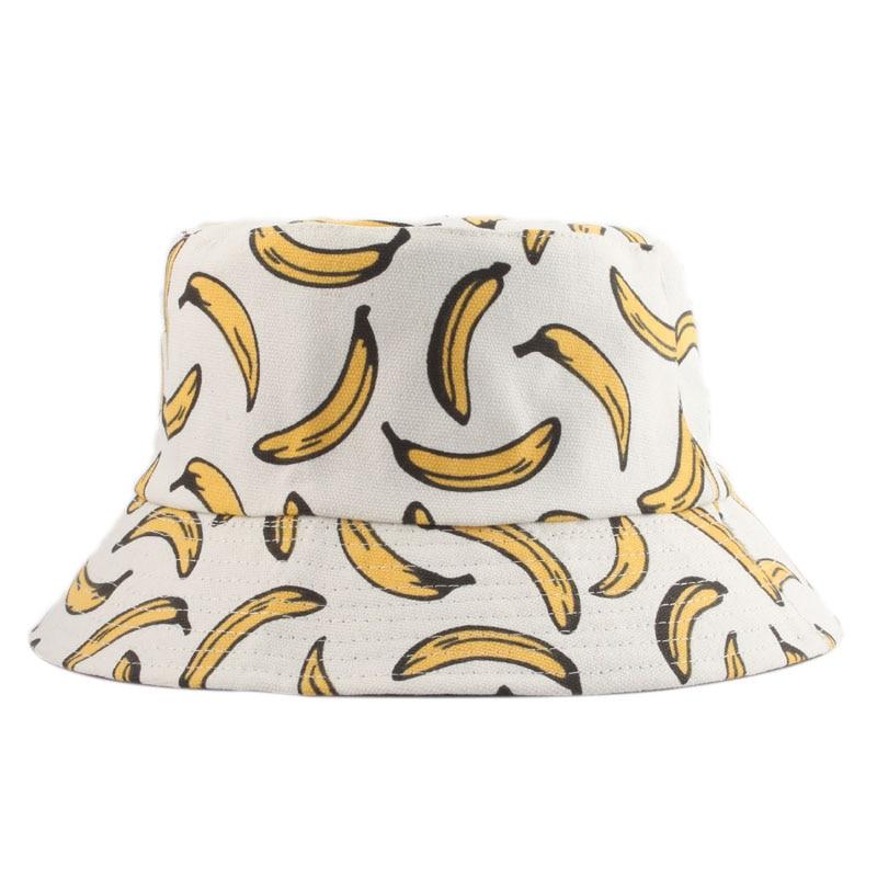 Summer Outdoor Bucket Hat Unisex Summer Bucket Cap Banana Print Fishing Fisherman Hat Casual Fashion Flat Hats White