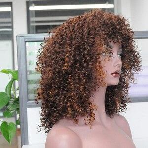 Image 3 - MSIWIGS オンブル黒巻き毛のかつらブラウン合成アフロかつら前髪耐熱赤髪