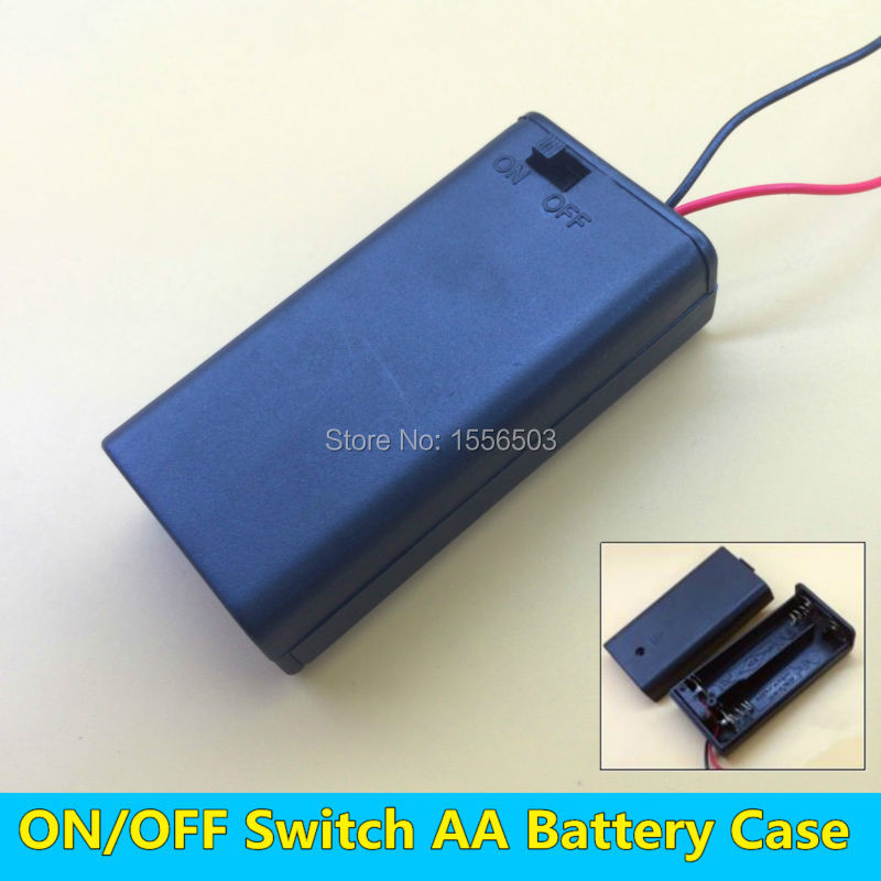50 PCS Wholesale Battery Box for 2pcs AA Battery Holder 2X1 5V 3V with Wire Cap
