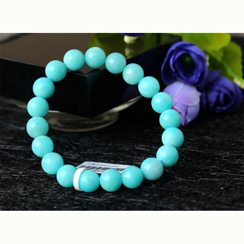 Discoun Wholesale High Quality Genuine Natural Peru Blue Amazonite Stretch Finished Beaded Bracelet Round Loose Beads 9mm