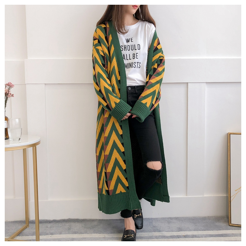 HSA Women Long Sweater Cardigans 2018 Autumn Winter Long Sweater Jacket Geometric Knit Cardigans Long Overcoat Winter Coat Woman