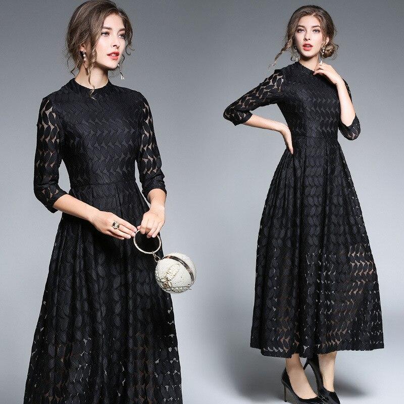 Automne nouveau fonds 2017 tempérament posé robe dentelle évider 7 minutes à manches longues cultiver moralité vestidos verano 2018