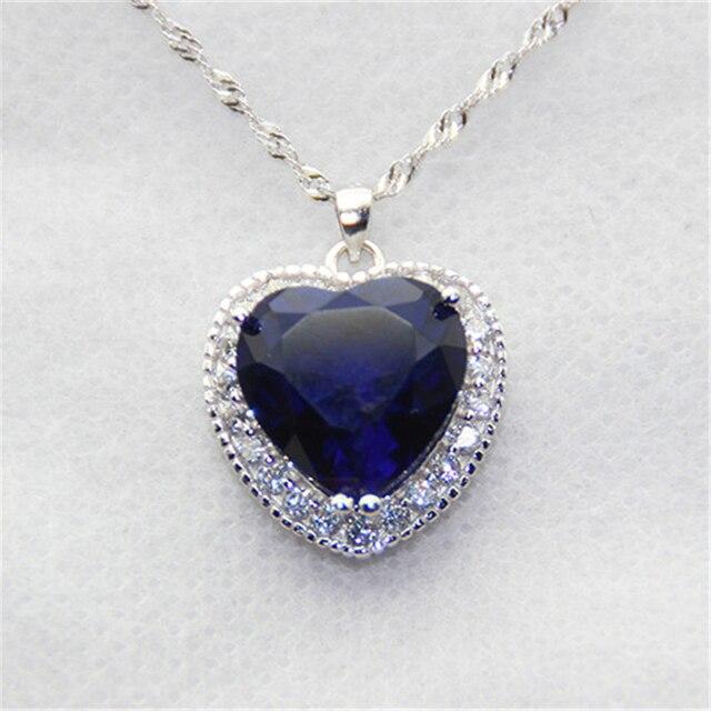 LASAMERO Ocean Star Pendant 925 Sterling Silver Necklace Titanic Blue Pendant Star Created Tanzanite Gemstone Pendant Necklace