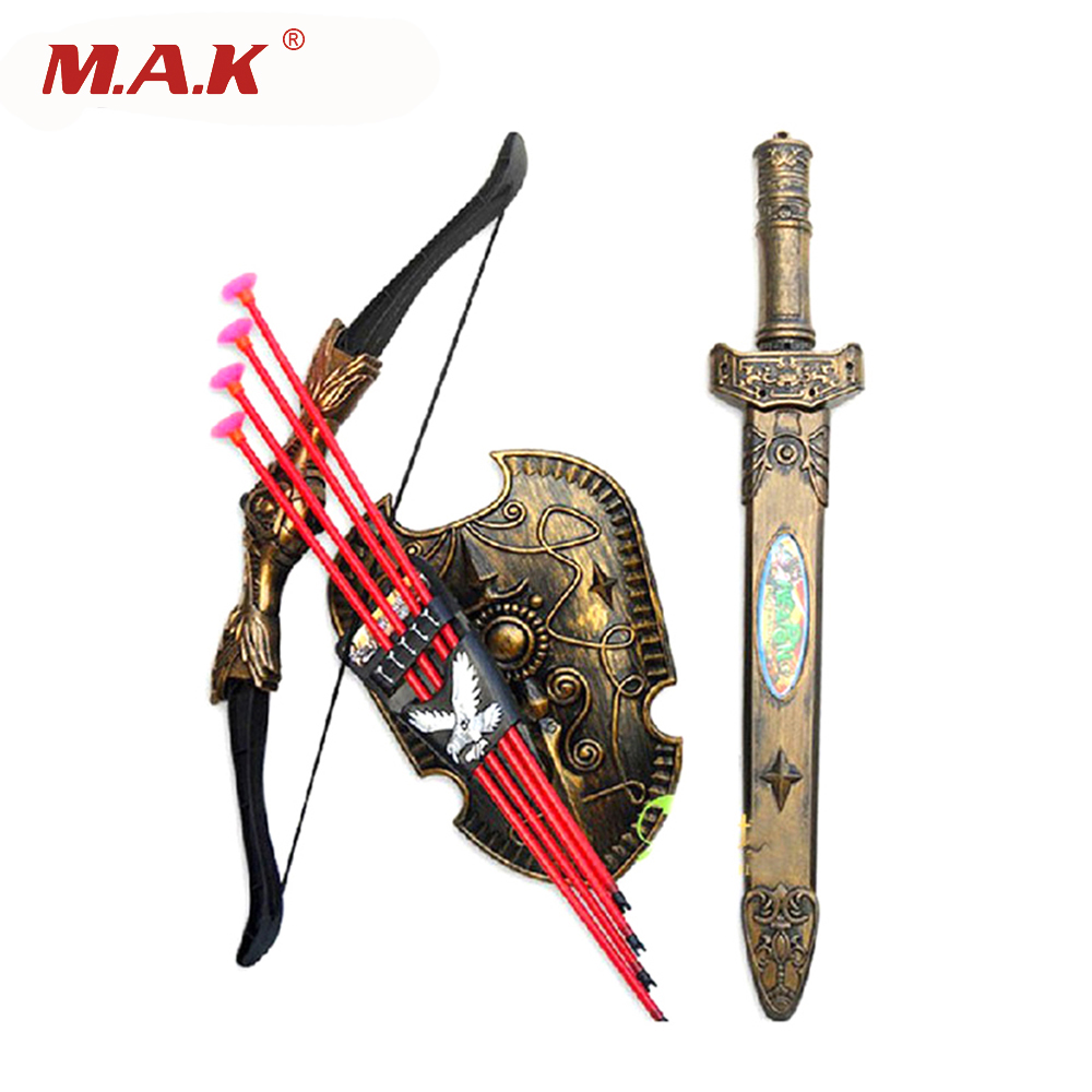 High-quality Plastic Sword Shiled Bow and Arrow Combo Simulation Archery Toy Set for Children Christmas New Year Gift Toys new smith minecraft arrow action figure toy pixel mosaic bow and arrow assembled set of juguetes anti stress toys for kids