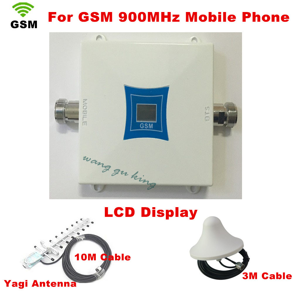 Full Set LCD Display Mobile Phone Mini GSM 900mhz Signal Repeater / Repetidor Cell Phone Signal Booster Amplifier Yagi Antenna