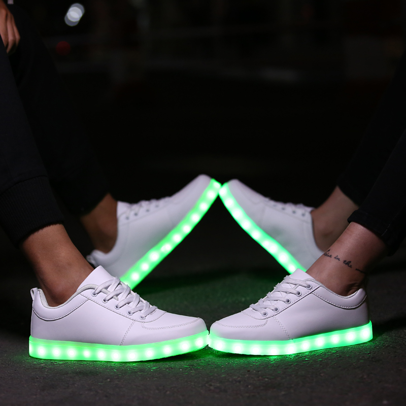 Men's Casual Shoes Usb Charge Led Shoes Couple Casual Shoes With Led Luminous Men Shoes Light Up Male Shoes Zapatos Mujer Fashion Lace Up Loafers Attractive Appearance