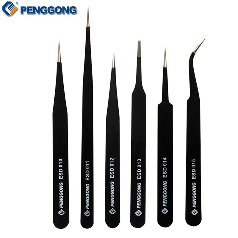 6pcs Anti-static Tweezers <font><b>ESD10</b></font>-15 Stainless Steel All Purpose Precision Multi Hand Tool Set image