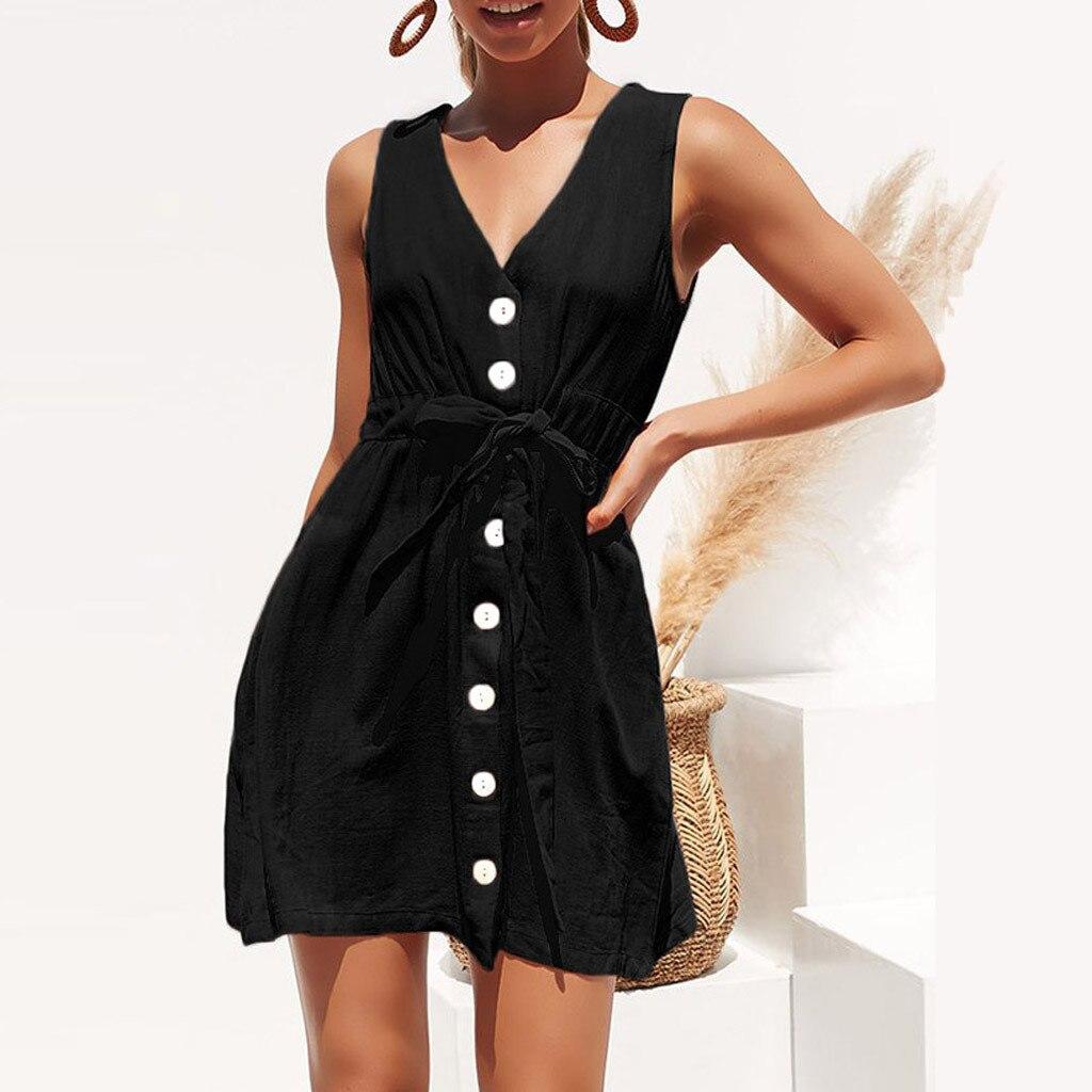 Feitong vestidos verano Women Elegant Dress Summer 2020 Casual Sleeveless V Neck Button Mini Party Dress Sundress vestido verano