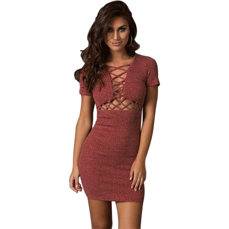 2018 Fashion Women Autumn Winter Knitted Dresses Hollow Out Bodycon Party Short Sleeve V neck Solid Color Elegant Party Dress solid color hollow out elegant turtle neck sleeveless bodycon dress for women