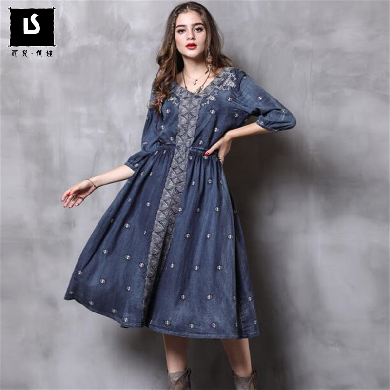 Robe Broderie Denim New Moitié ligne Automne Femmes A Vintage V Blue Casual Robes Col Femininos Manches Longues m8wn0N