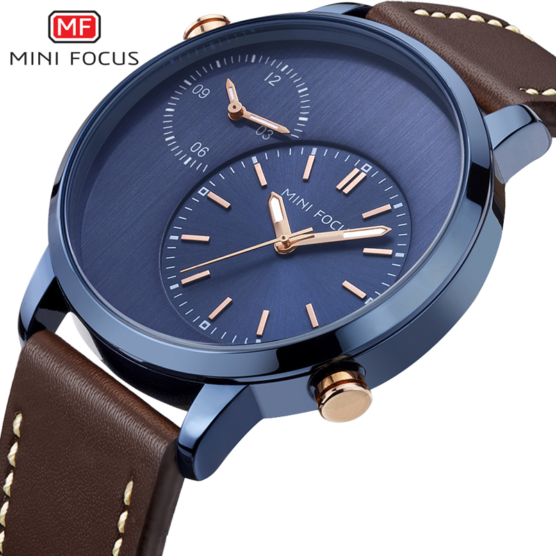 MINI FOCUS Luxury Men's Wristwatch Quartz Watch Men Waterproof Brown Leather Strap Fashion Male Clock Leather Strap Wristwatches