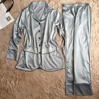2017 New Design Women S Full Sleeve Top Long Pants Two Pieces Pajamas Set Silk Satin