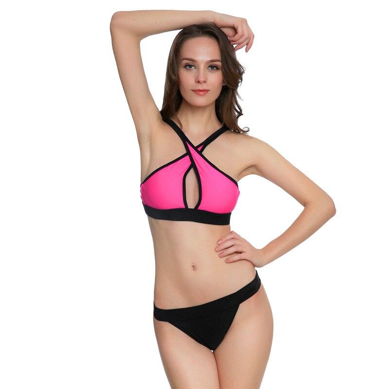 Sexy Women Red Black Triangular Cross Bikini Swimsuit Strappy Tankini Two Pieces Bathingsuit With Briefs Beachwear Swimwear Wear