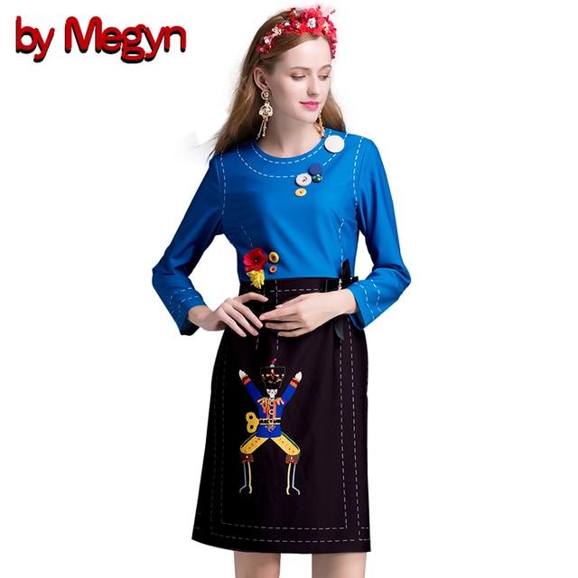 Autumn Winter Runway Dress Women Long Sleeve Character Button Appliques  Beading Patchwork Knee Length Dress Vestido DG130 c49769016f2a