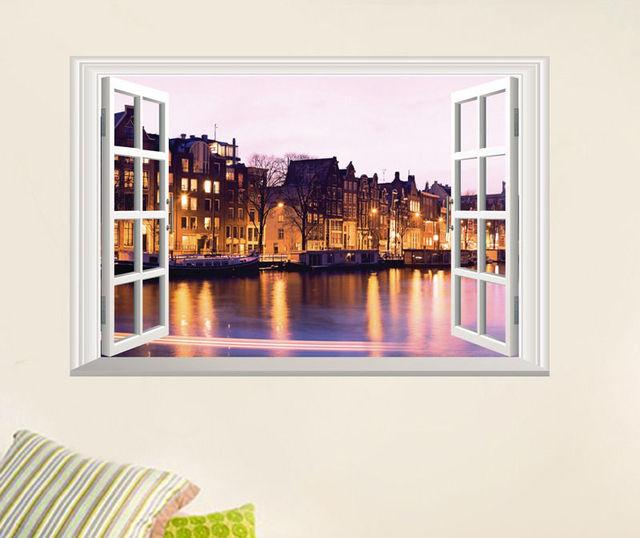Creative 3D Fake Window Wall Sticker Bathroom Stickers Home Decor Riverside  Road Night Waterproof Removable Vinyl