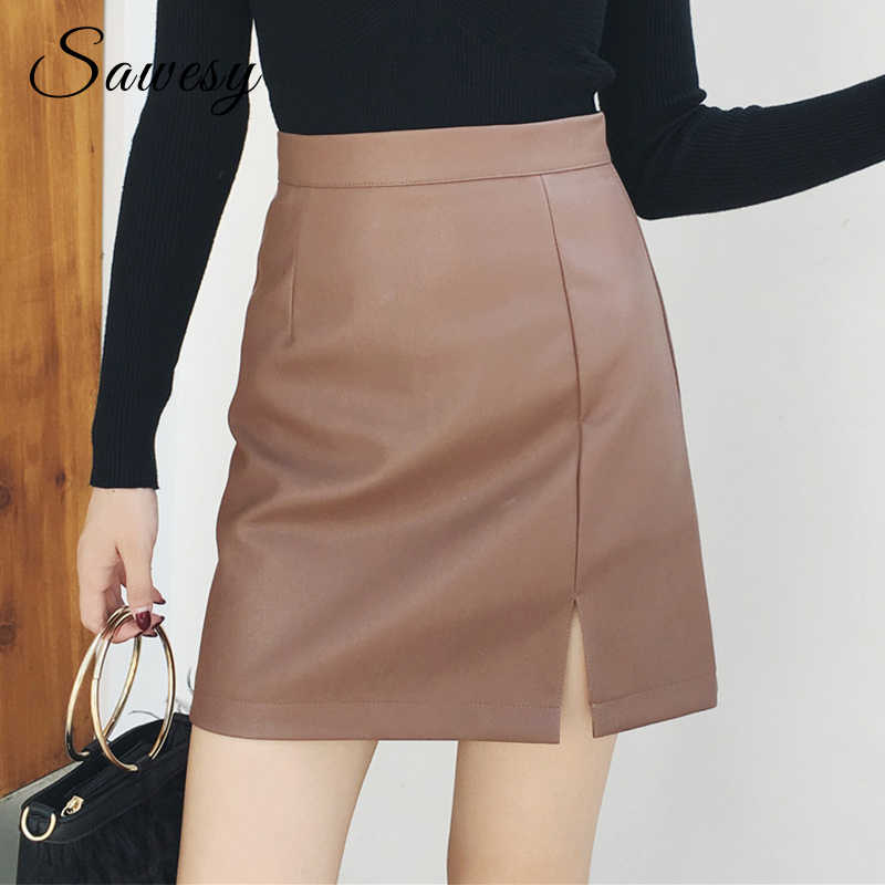 1f30e57abbf Сексуальные юбки из искусственной кожи для женщин 2018 Новая мода осень  зима разрез Высокая талия юбка