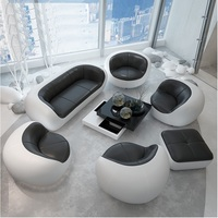 Milan Design Low Back Sofa / Package Included: 220cm Long + 4x Seat Couch + Ottoman