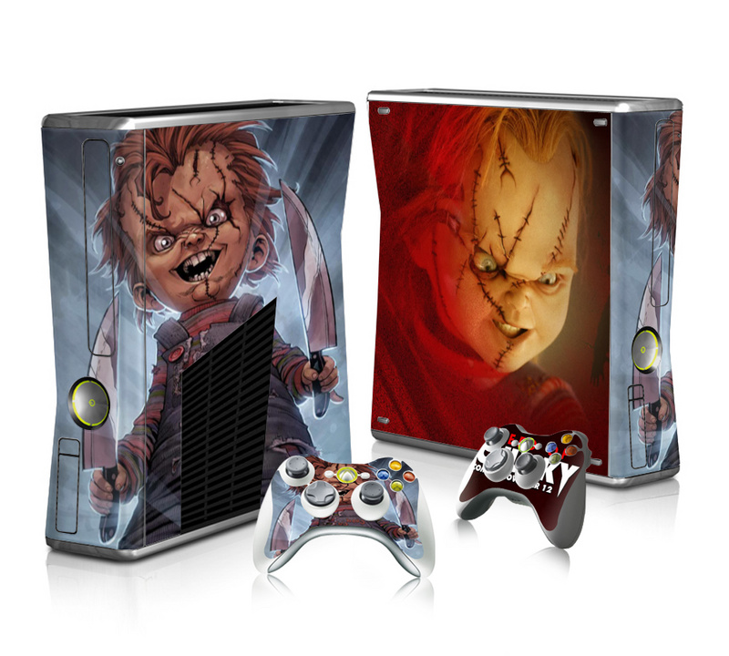 Scared Design Vinyl Decal Skin Sticker for Microsoft Xbox 360 Slim and 2 Controller Skins Sticker for Xbox 360 Slim