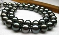 AAA+ 11 12 mm natural Tahitian black pearl necklace 18 inch