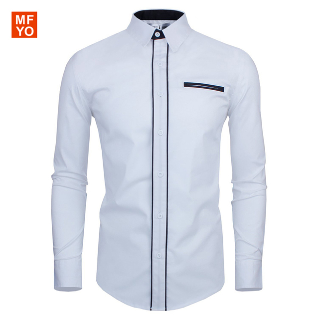 2016 Новый Мужчины Платье Рубашки Повседневные Soild Цвет Роскоши сорочка homme Slim Fit Бизнес Формальный Рубашка camisa социальной masculina