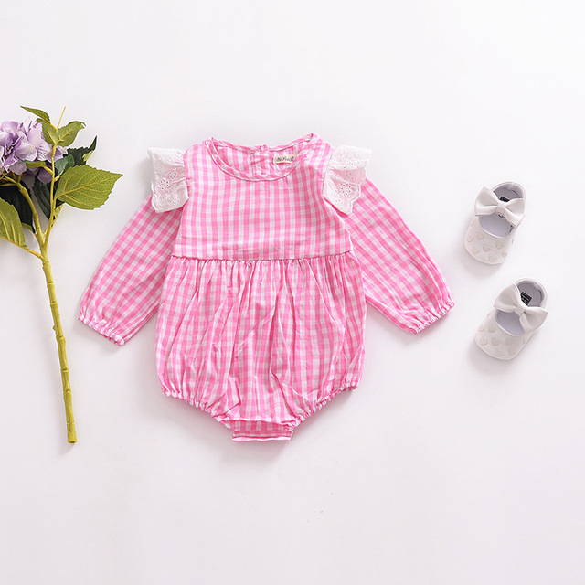 76043764 Classic Pink Plaid Baby Girl Clothes 0-24 Months Baby Rompers Loose Newborn  Clothes Cute Lace Flying Long Sleeve Kids Clothes