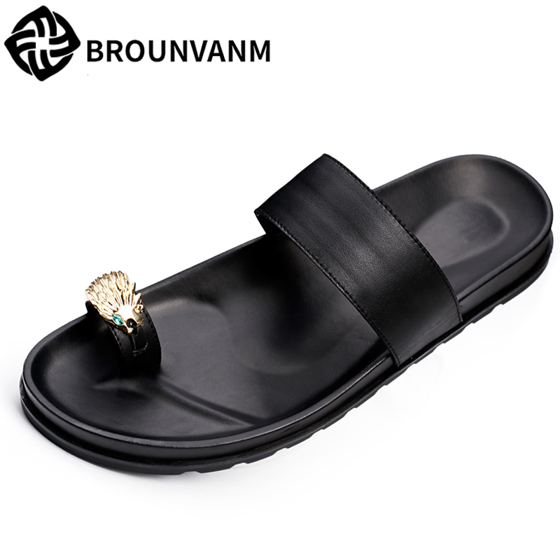 all match cowhide men s slippers summer sandals Sneakers Men Slippers Flip Flops casual Shoes beach