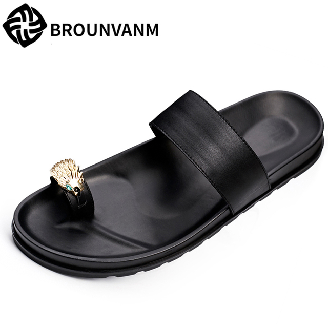 1a219078fd0cd2 all-match cowhide men's slippers summer sandals Sneakers Men Slippers Flip  Flops casual Shoes beach outdoor Genuine Leather
