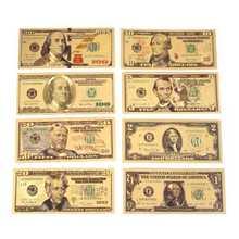 8 шт./компл. Позолоченные долларов банкнот на возраст 1, 2, 5 10 20 50 100 доллар подарки в античном стиле Сувенир поддельные деньги золотой антиквар...