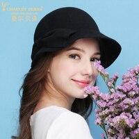 צ 'ארלס Perra גברת אלגנטית מגבעות לבד כובע חורף נשים כומתה סתיו חורף חדש לשמור אופנה חמה כובעי צמר כובע סטריאוטיפים 0721