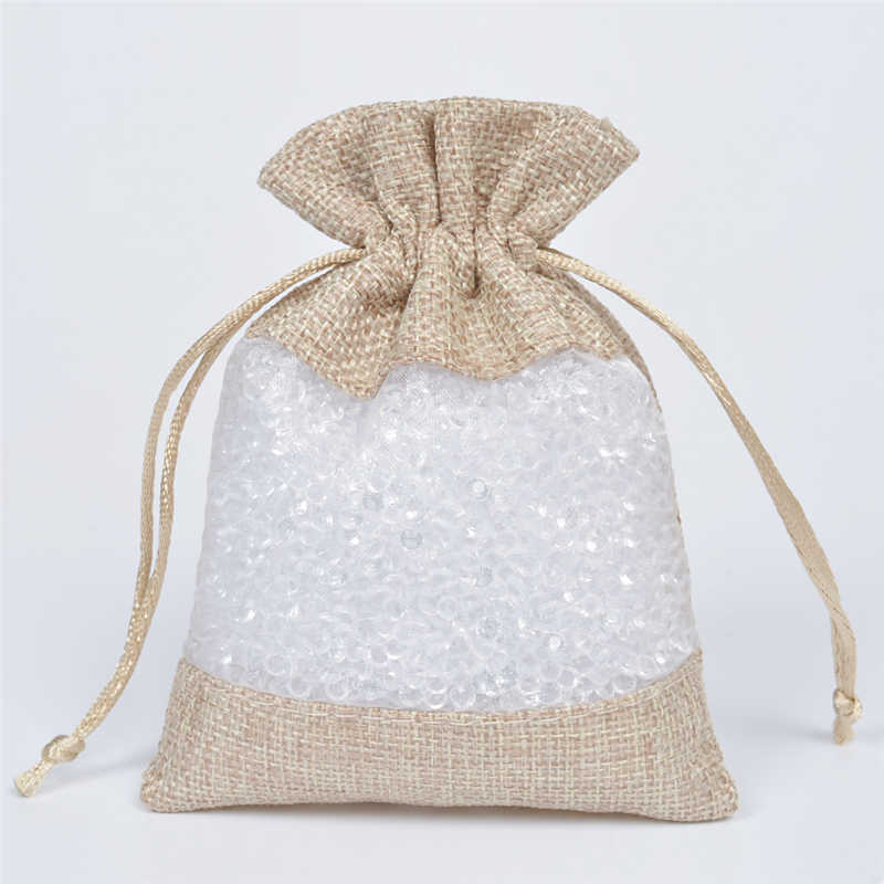 707ebf324dcb 50pcs Clear Window Flax Organza Linen Hessian Pouch Jute Gift Bag  Drawstring Pouches Jewelry Packaging Christmas Wedding 3 Sizes