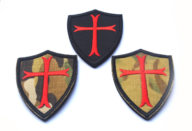 WHITE WITH YOUR SHIELD or on it TEMPLAR KNIGHT patch CRUSADER military MORALE