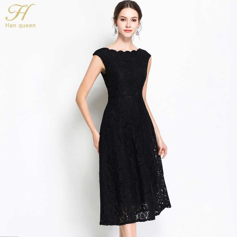 H Han Queen été travail partie dentelle robe évider Slim sans manches femmes Floral Crochet décontracté blanc noir robes Vestidos