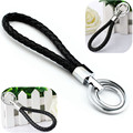 New Popular Leather Strap Weave Rope Double Ring Car Keyring Keychain Bag Car-Styling Ornaments Pendant Key Chain Gift