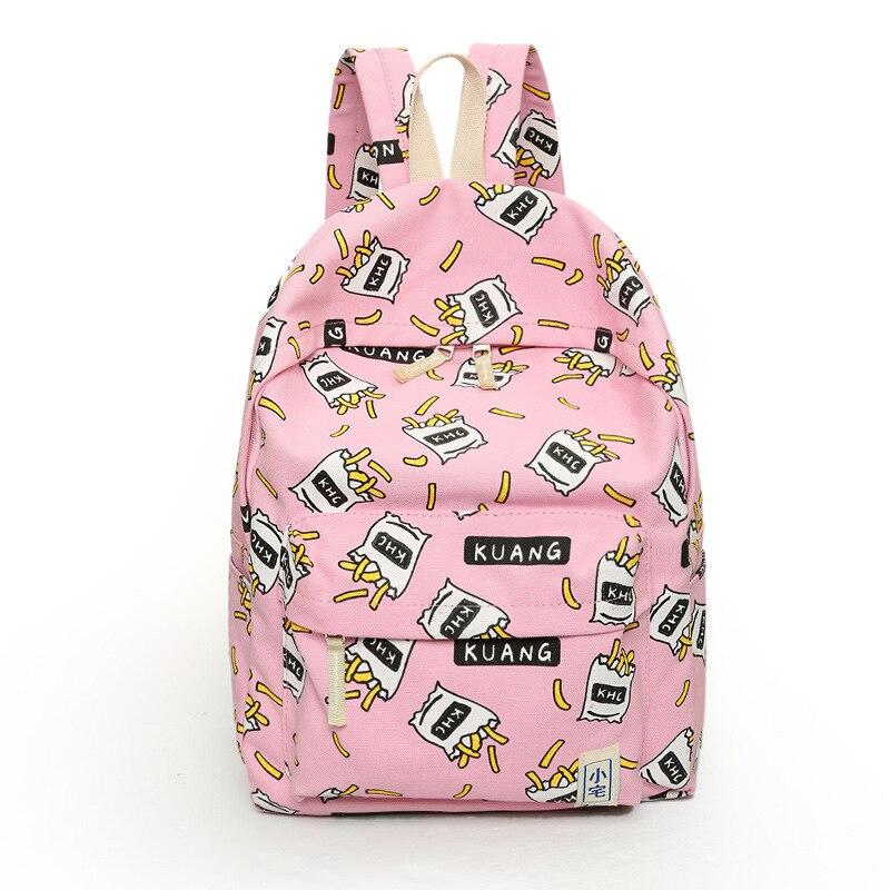 New Women Canvas Backpacks Fruit Printing Large School bags For Girls Travel Bag Rucksack Bolsas Mochilas